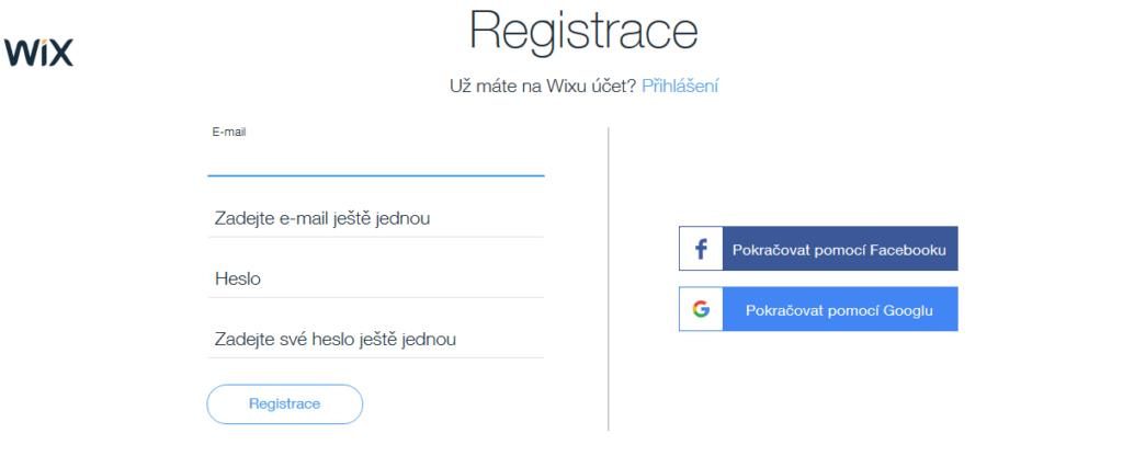 wix registrace